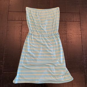 Baby Blue & Yellow Striped Strapless Sundress